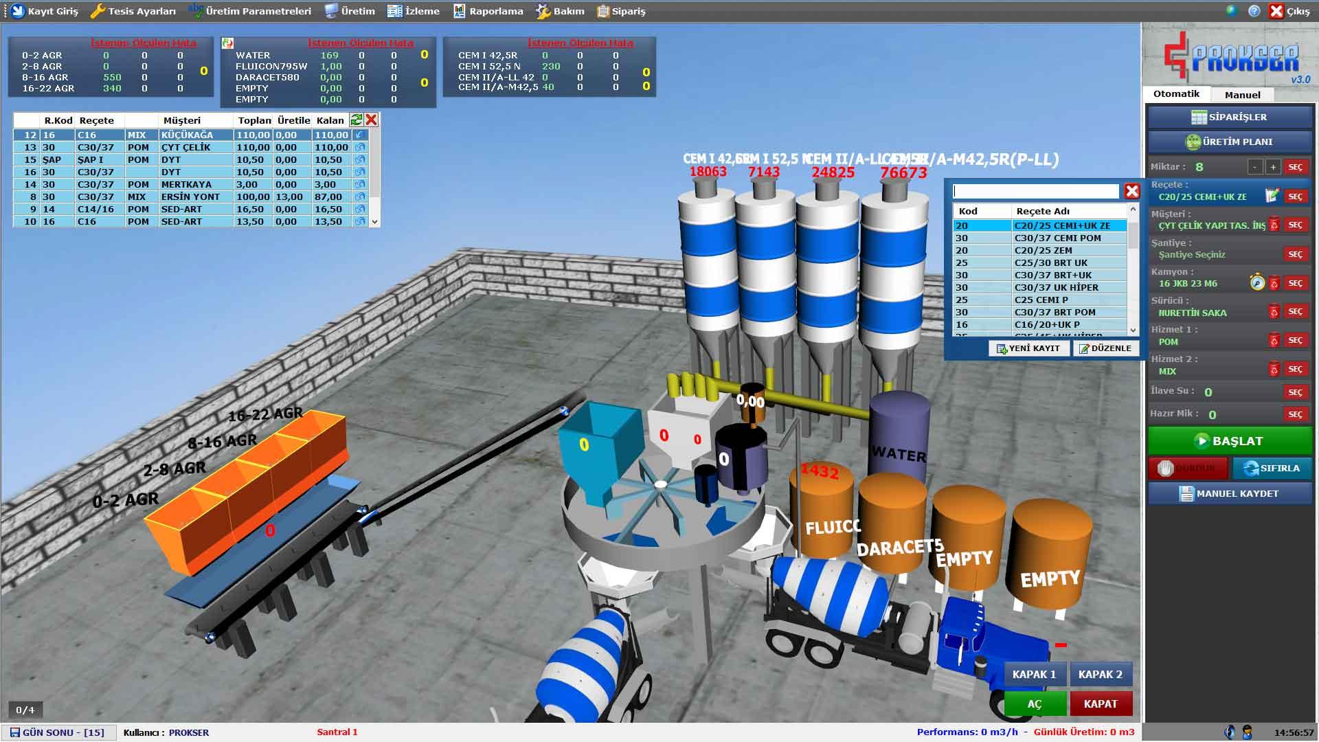 ProkserNET Üretim Planı Ekranı
