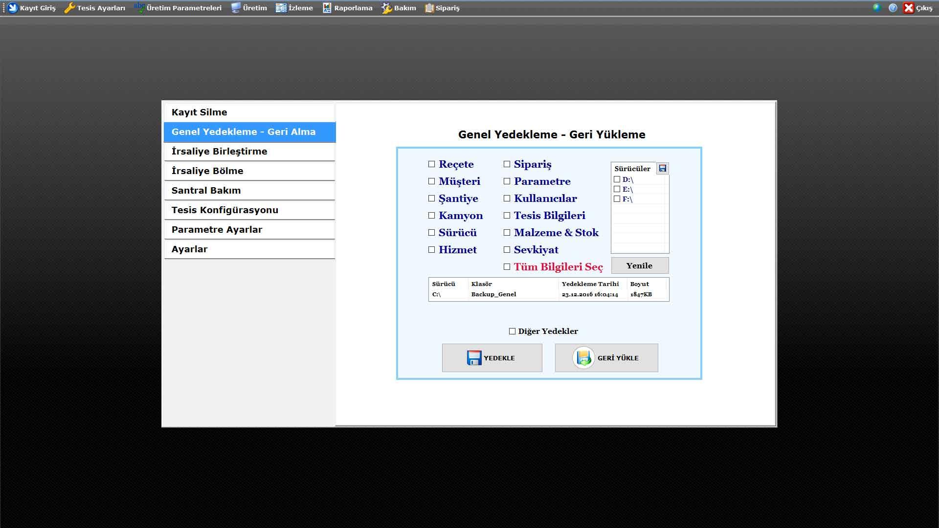 ProkserNET Bakım Ekranı - Genel Yedekleme - Geri Yükleme