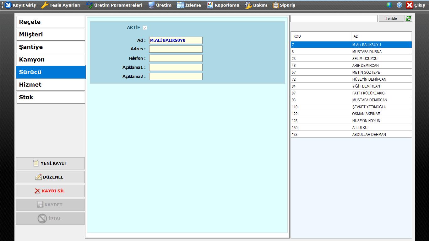 ProkserNET Kayıt Giriş Sürücü Ekranı