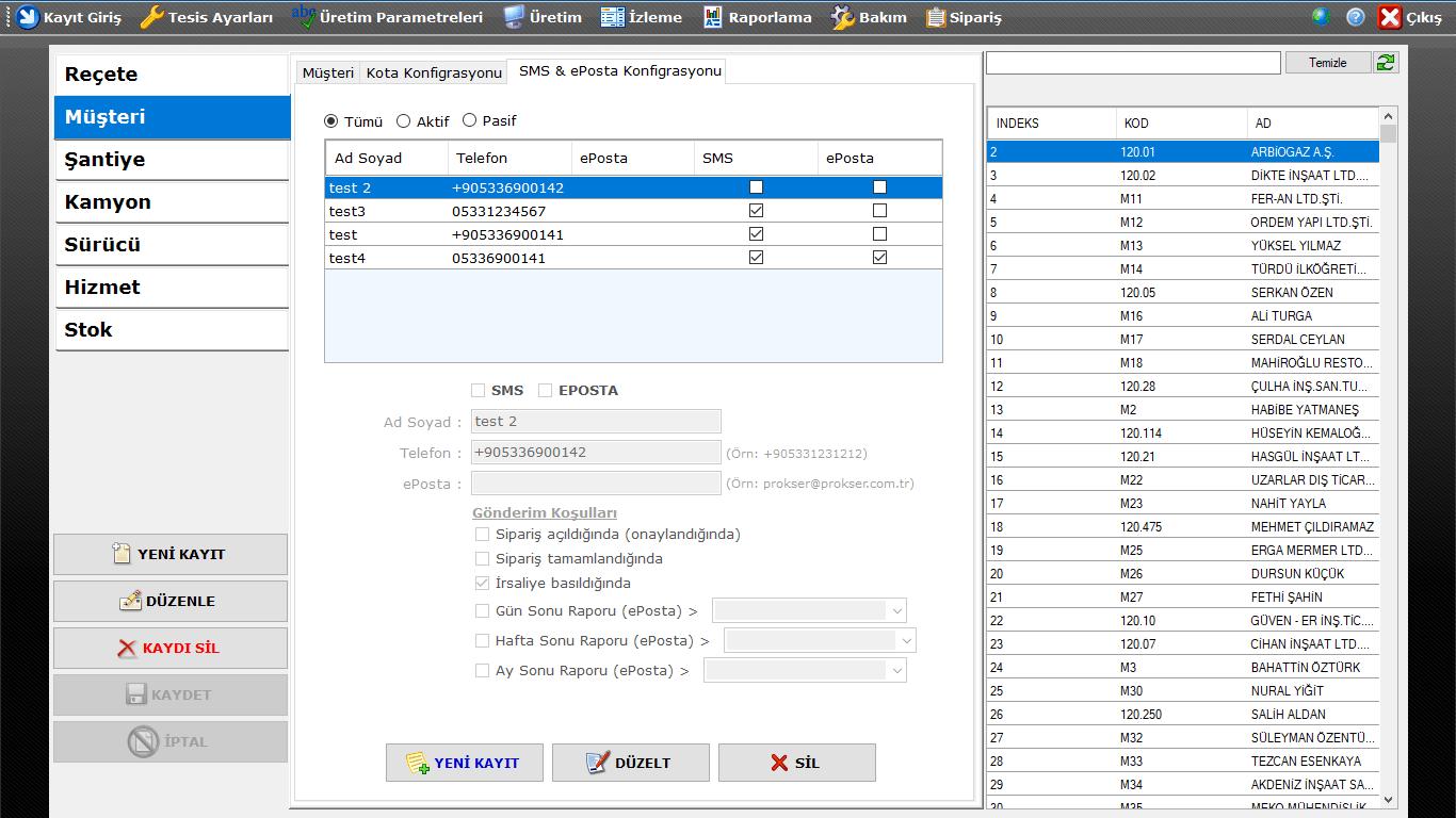 ProkserNET Kayıt Giriş Müşteri Sms & ePosta Konfigürasyon Ekranı