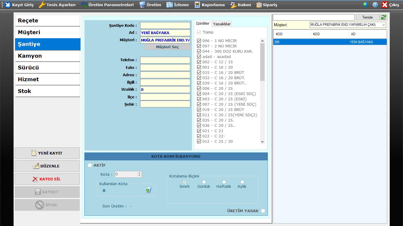 ProkserNET Kayıt Giriş Şantiye Ekranı