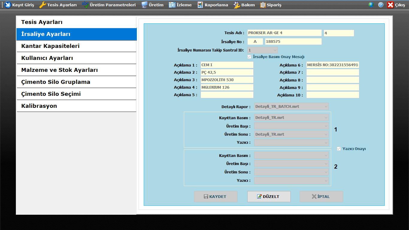 ProkserNET İrsaliye Ayarları Ekranı