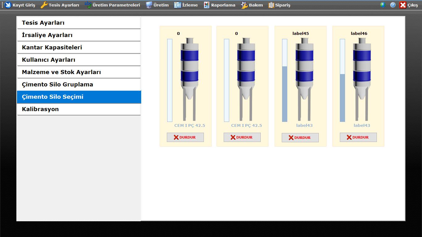 ProkserNET Çimento Silo Seçimi Ekranı