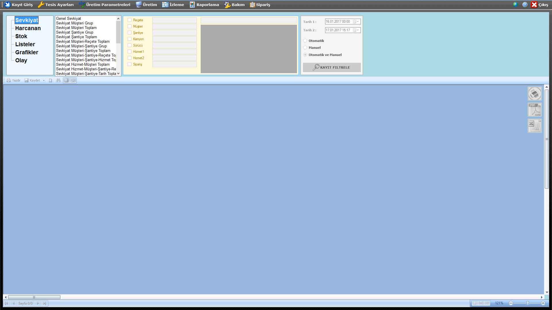 ProkserNET Raporlama Ekranı