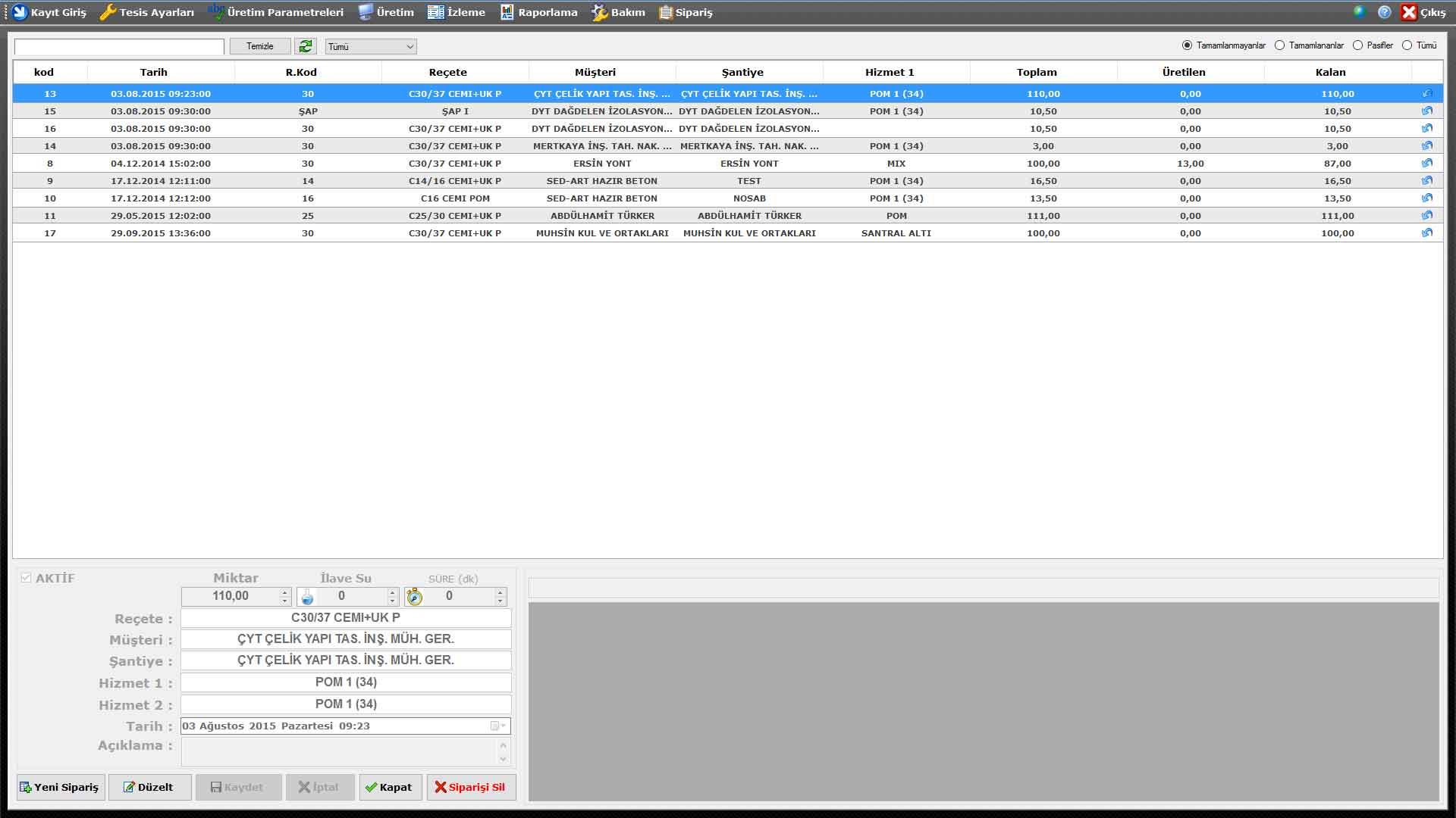 ProkserNET Sipariş Ekranı